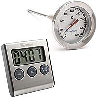 400 ° c grados de acero inoxidable horno, horno de leña, horno/parrilla termómetros con latón cono y temporizador digital. termómetros analógicos de parrilla y bimetálico