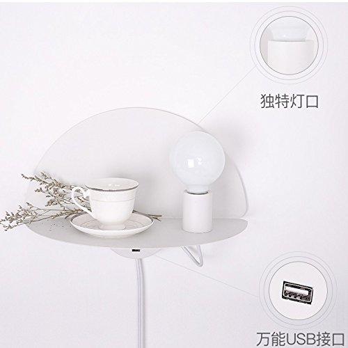 LIYAN minimalistische Wandleuchte Wandleuchte E26 /E27 Schlafzimmer Wand lampe Nachttischlampe Wohnzimmer Arbeitszimmer Wand eingebaute Regal Desktop USB-Ladestecker -
