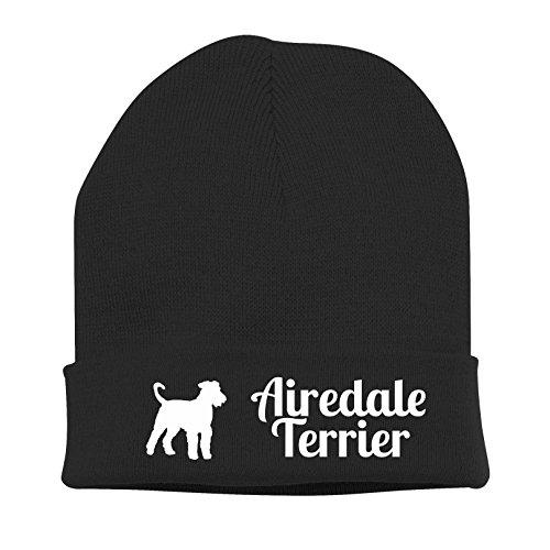Strickmütze - AIREDALE TERRIER - Stickerei Hund Winter Mütze Wintermütze Beanie Mütze Siviwonder schwarz-weiß