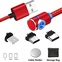 Magnetic Charging Cable with LED, Multi 3-in-1 Cable Charger for Phone/Android,Multiple Charging Adapters Micro-Light-Type USB C-No Sync Data.Fast Charge for Sam sung and More