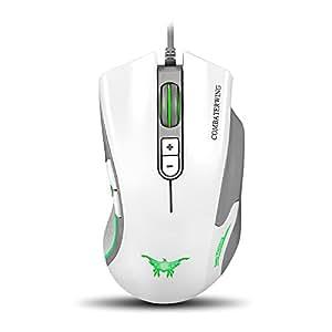 VersionTech Ergonomische Gaming Maus USB Wire Optisch Maus Anstellbar DPI für Laptop Mac Computer PC ( Weiß )