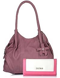 Fostelo Women's Combo Handbag & Clutch (Light Pink & White) (FSB-1181-FC-24)