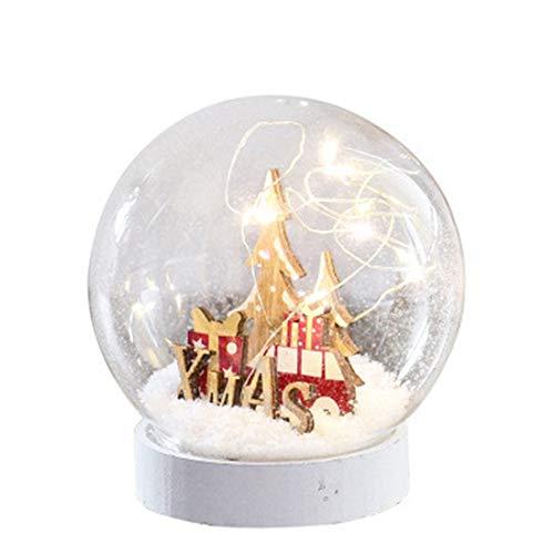 Warmhome Weihnachtstischlampe Dekoration Schnee Szene Nachtlicht Weihnachtsbaum LED Glas Schneeball Festival Atmosphärenverzierung rot Batterie 12 * 11 cm