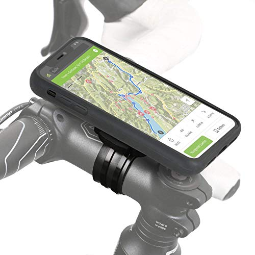 QuickMOUNT Fahrrad Halterung Set kompatibel mit Apple iPhone 11 (Modell 2019 / 6,1 Zoll) Lenker Vorbau Befestigung mit Regenponcho und Handy Hülle (Qi-fähige Smartphone Case, sehr robust) schwarz