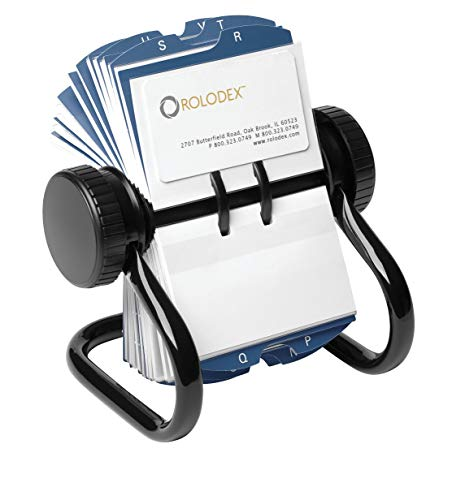 Efficient design offers easy access to business cards and other important contact information. Metal base. Includes transparent sleeves for business or 2 1/4 x 4 cards (not included) and 24 A-Z guides. Card Holder Type: Open Rotary Business Card File...