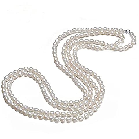 JYX 7-8 mm Oval White Freshwater Cultured Pearl Necklace Endless