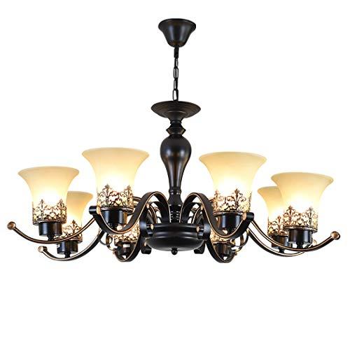 YJFFAN Moderner minimalistischer Innenleuchtungsleuchter, American Wrought Iron Glass Multihead Pendant Light for Living Room Dining Room Bedroom Lampe E27,110-240V,8heads