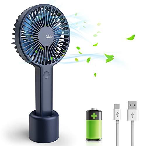 joylink Ventilateur à Main, Portable Rechargeable Mini Electrique Silencieux de Table USB Ventilateur de Bureau avec Rechargeable Batterie, Compatible pour Chambre Bureau De Plein air Voyage