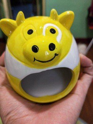 Small Animal Hideout Ceramic House Critter Bath House Cave Mini Hut Cage for Chinchilla Hamster (ORANGE) 6