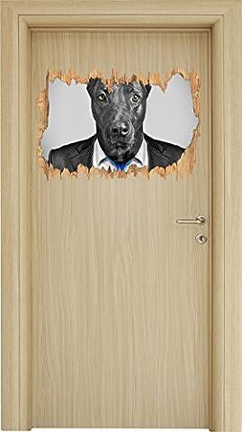 Labrador en costume noir / percée blanc bois aspect 3D, la taille de la vignette mur ou de porte: 62x42cm, stickers muraux, sticker mural, décoration