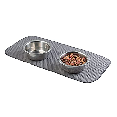 mDesign Microfibre Feeding Mat - Absorbing Pet Bowl Mat for Dogs, Cats and other Animals - Animal Placemats - Pewter / Ivory