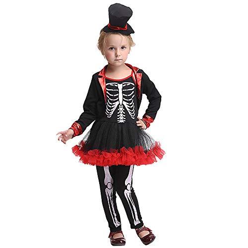 wnddm Baby Kind Mädchen Halloween Scary Skeleton Bone Print Hexe Kostüm Phantasie Nette Schwarz Rot Tutu Kleid Hosen Kleidung Set Für - Halloween Scary Kostüm Mädchen