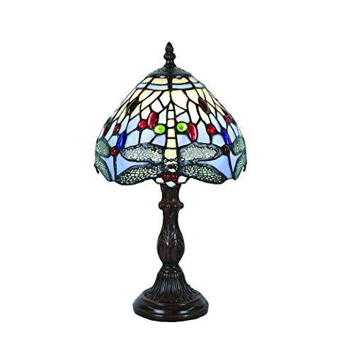 Tokira Vintage Tiffany Tischlampen Blau Libelle 8 Zoll, Tiffany Tischlampe Antik Original, Glasmalerei Lampen Schlafzimmer Nacht Lampenschirme Wohnzimmer