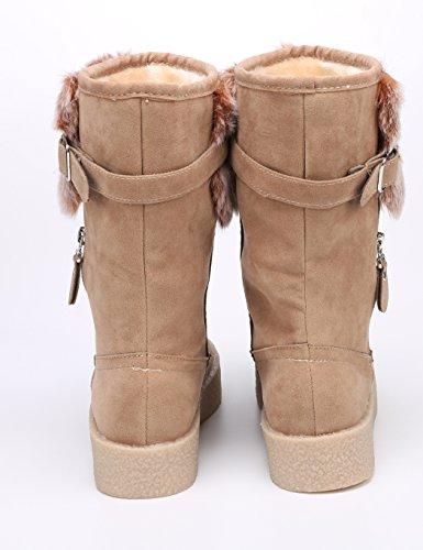 MEXI MEXI Frauen nette Winter warmer Aufladungen Komfort Schuh flache runde Zehe Kn?chel Style-02-Braun