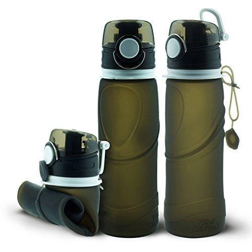n Faltbare Wasserflasche 26 Unzen (750ML) mit hinzugeführtem Leckageventil Bessere Leckage und Staubdicht für Sport und Outdoor mit medizinischer Qualität Schwaz (Filter-wasser-flasche Mit Kappe)