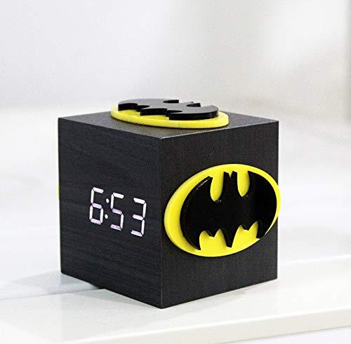 Hero Sprachsteuerung Holz Mode kreative 3D Stereo Cube USB kleine Wecker LED Nachtlicht Nachttischlampe Valentinstag Geschenk