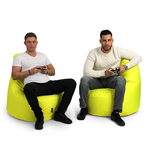 BuBiBag Gamer Kissen Lounge Sitzsack Sessel original Sitzkissen In & Outdoor geeignet fertig befüllt in 31 Farben (gelb) - 4