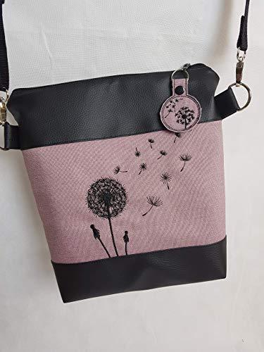 Handtasche Pusteblume Umhängetasche Pusteblume rosa Kunstleder mit Anhänger Tasche handmade