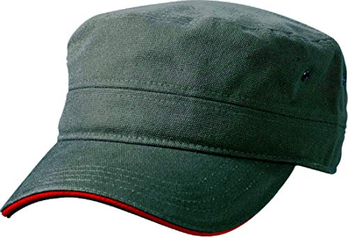Myrtle Beach Cap Military Sandwich, olive/red, one Size, MB6555 olrd Military Cap Olive