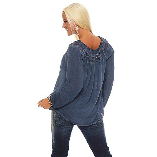 Zarmexx Damenbluse Carmenbluse Langarm Oberteil Carmen-Ausschnitt mit Häkeleinsatz One Size Blau