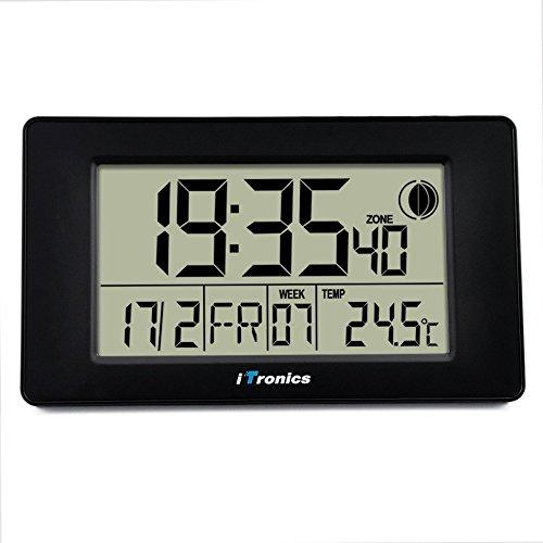 iTronics Reloj de Radio Digital de Pared con Indicador de Temperatura Reloj despertador Temporizador de cuenta atrás  Negro