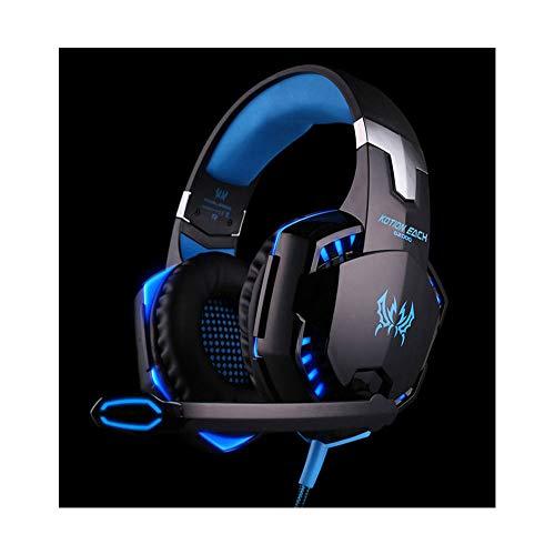 Multi-Plattform-Gaming-Headset für Playstation 4 PS4 PC Computerspiele, Geräuschisolierung, Bass-Surround-Stereo, weiche Ohrenschützer, Over-Ear-Kopfhörer mit Mikrofon Blau blau -