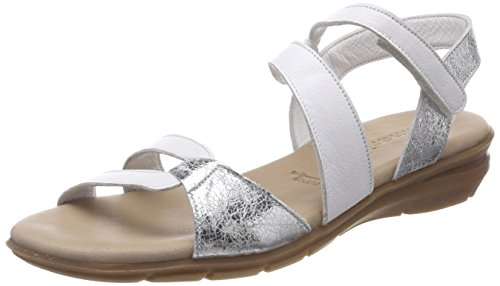 Tamaris Damen 28711 Slingback Sandalen, Weiß (White/Silver), 40 EU (Sandale Flache Weiße Frauen)
