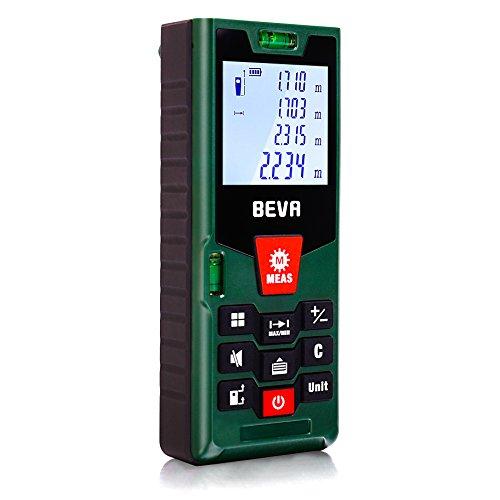 Laser Entfernungsmesser 100M Laser Messgerät Distanzmesser (Messbreich 100m/±2mm) mit LCD Hintergrundbeleuchtung, Staub/Spritzwasserschutz IP54 von BEVA
