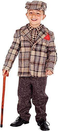 Italienische Herstellung Deluxe Baby &Ältere Jungen Alter Mann Opa Großvater Kostüm Kleid Outfit 0-10 Jahre - Braun, 9 Years (Baby Opa Kostüm)