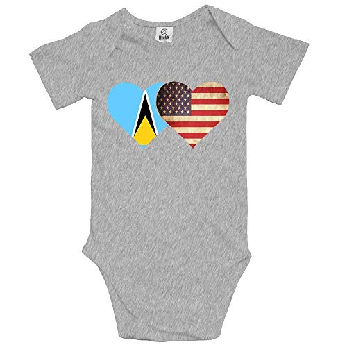 Yoigng Babys Bodysuit Saint Lucia Flag and American Flag One-Piece Climbing Clothes Jumpsuit 2 T - American-flag Fish