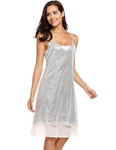 Meaneor Damen Trägerkleid mit Pailletten Shimmer Glam Verziert Sparkle Paillettenkleid Cocktailkleid Partykleid (L, Silber)