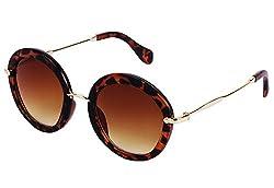 YORA Brown Round Women Sunglasses