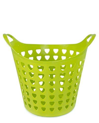 Ondis24 Flexi Open Tragekorb aus flexiblem Kunststoff, unzerbrechbar, Wäschekorb mit guter Belüftung durch große Öffnungen, Gartenkorb Wäschekorb 26 Liter (Grün)