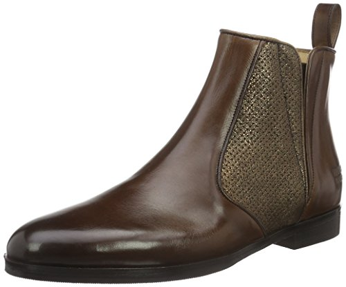 Melvin & Hamilton Damen Susan 34 Chelsea Boots Braun (Crust Dk.Brown/Salerno Metallic Perfo Bronze/Ela.Dk.Brown/hRS)