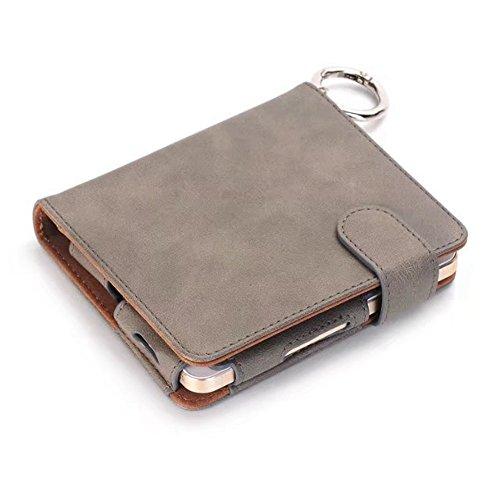 Tragbare Vape Fall, multifunktionale Eletronic Zigarette Ledertasche mit Feuerzeughalter und Card Cash Slots ( Color : Black ) Gray