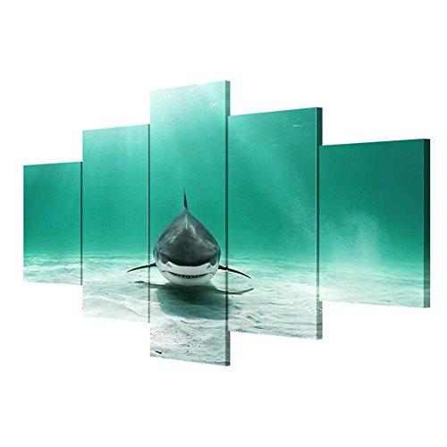 JJH-ENTER Cuadros de lienzo Arte moderno de la pared Lecho del tiburón Lona Pinturas decorativas Salas de estar Pinturas de pared , Without Borders , SizeB