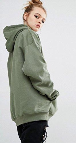 YouPue Mode Manteau De Style Moyen Encapuchonné SweatShirt Femmes Blouse à Manches Longues Overs Sweatshirt Vert Armée
