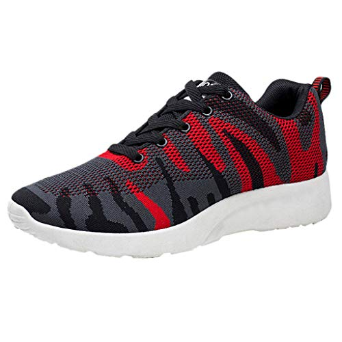 s Atmungsaktiv Herren Fashion Mesh Sportschuhe Casual Running Shoes Camouflage Schuhe Outdoor Lace-Up Flat Shoes 42 EU rot ()