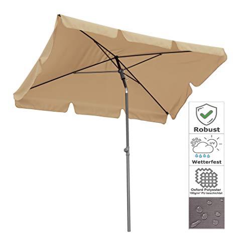 QUICK STAR Balkon Sonnenschirm 200x125cm Balkonschirm Rechteckig Knickbar Sand Gartenschirm UV 50