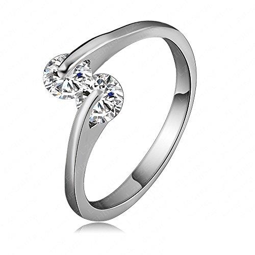 AnaZoz Schmuck 18K Vergoldet Liebe Schellt Platinum Wedding Des Österreichischen Vorschlag Ring