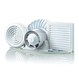 Blauberg UK 100-1 Vents VKO-Bathroom Shower Fan Kit 100mm with Timer, White, Set of 8 Pieces