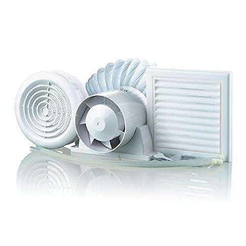 Blauberg UK Kit Vko 100–1100mm Évents Vko kit de ventilation de douche de salle de bain avec minuterie–Blanc (8pièces)