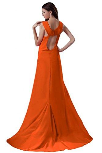 Sunvary Spaghetti Sexy da spacco in Chiffon Empire Sera Sera Gowns vita Orange
