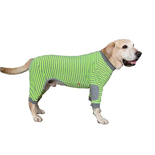 BT Bear Hundepyjama für große Hunde, weich, flexibel, atmungsaktiv, gestreift, Reißverschluss