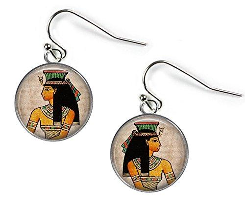 Antiguo Egipto Princess–cuadro de cristal pendientes–bañado en plata (BC2)
