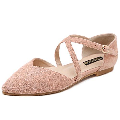 LJO Womens Sommer Wies Mode Sandalen Flache Ferse Schnalle Gürtel Baotou Flache Mund Schuhe,B,UK/EU42
