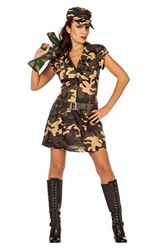 Damen Kostüm Armee Soldatin Camouflage Karneval Fasching Gr.38