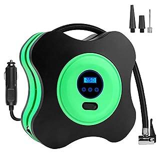 Luftkompressor, Vkaiy 12V DC Digitaler Auto Kompressor Auto Luftpumpe, Tragbarer elektrischer Reifen Air Compressor für Autos, Fahrräder und Basketbälle (Mit 3M Kabel, LED , 150PSI) (Grün)