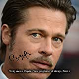 Brad Pitt 1 Personalised Gift Print Mouse Mat Autograph Computer Rest Mouse Mat Compatible with Laser and Optical Mice (with Personalised Message)