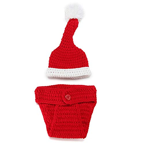 Santa Claus Girl Kostüm - Baby Girl/Boy Fotografie Kostüm Neugeborenes Kostüm Fotografie Prop Santa Claus gestrickt Outfit 3-teilig Anzug (Farbe : 2)